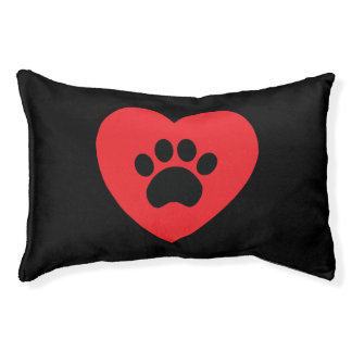 Paw Print Heart Dog Bed