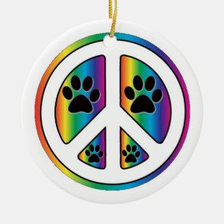 Paw print peace round ceramic decoration