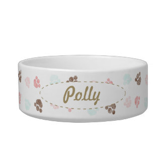 Paw Prints Dog Cat Personalized Mocha Baby Bowl