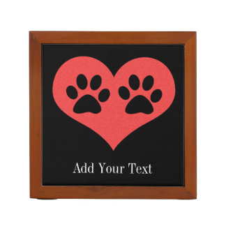 Paw Prints In My Heart by Shirley Taylor Desk Organiser