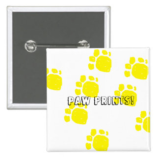 Paw prints in yellow text paw prints customize it 15 cm square badge