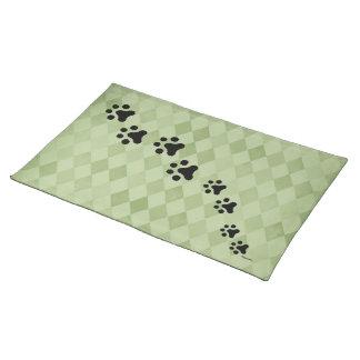 Paw Prints Placemat (green diamond)