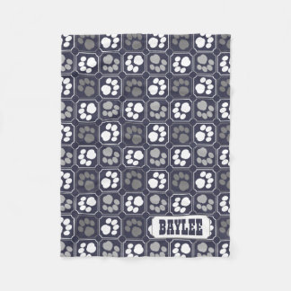 Paw Prints Tile Design Navy Blue Fleece Blanket