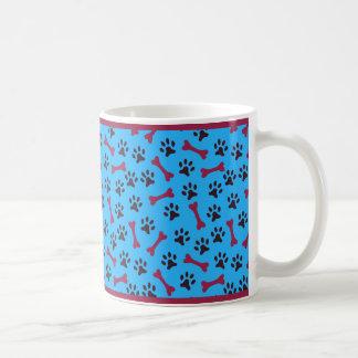 """""""Paws and Bones"""" Blue & Magenta Coffee Mug"""