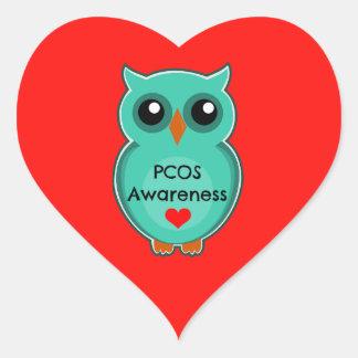 PCOS Awareness Owl Heart Stickers