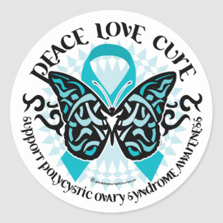 PCOS Butterfly Tribal 2 Classic Round Sticker