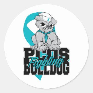 PCOS Fighting Bulldog Classic Round Sticker