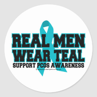 PCOS Real Men Wear Teal Classic Round Sticker