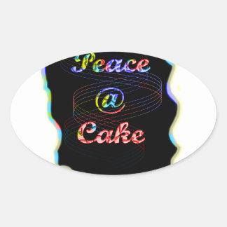 Peace A @ cake Oval Sticker