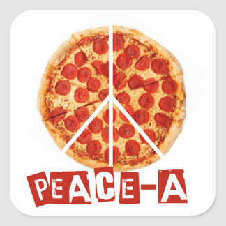 Peace-a for the pizza and peace  lover square sticker