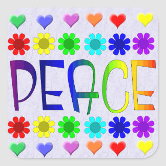 Peace and Flowers Square Sticker