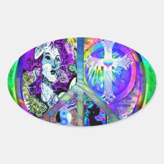 Peace and Harmony Oval Sticker