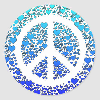 Peace and Hearts. Round Sticker