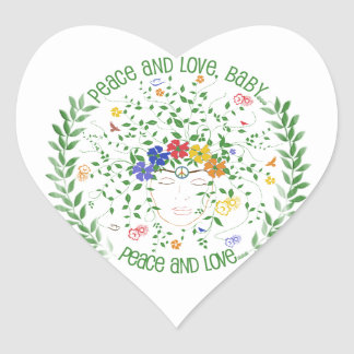 Peace and Love, Baby... Heart Sticker