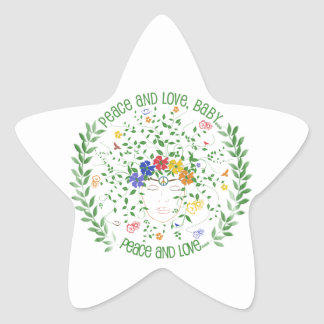 Peace and Love, Baby... Star Sticker