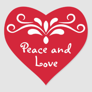 Peace and Love for Christmas red heart cute custom Heart Sticker