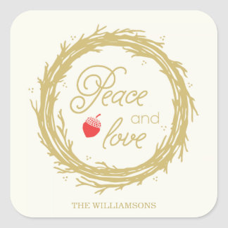 Peace and Love Personalized Holiday Stickers
