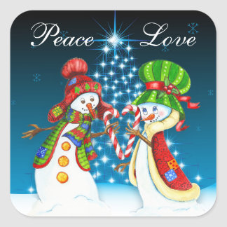 Peace and Love Snowman and Snow-Woman Holiday Square Sticker