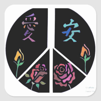 Peace and Love Square Stickers