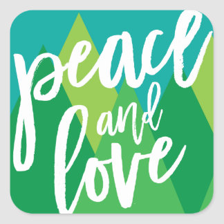 Peace and Love sticker, label, envelope seal Square Sticker