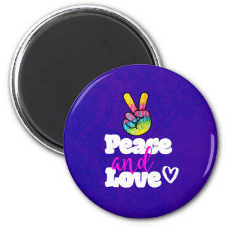 Peace and Love Typography Rainbow Hand Peace Sign 6 Cm Round Magnet