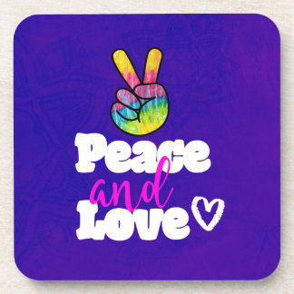 Peace and Love Typography Rainbow Hand Peace Sign Drink Coaster
