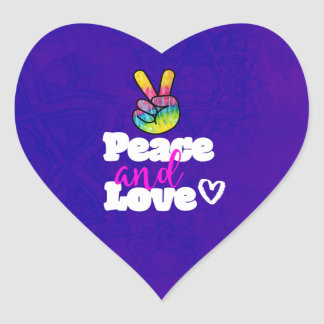 Peace and Love Typography Rainbow Hand Peace Sign Heart Sticker