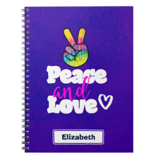Peace and Love Typography Rainbow Hand Peace Sign Notebook
