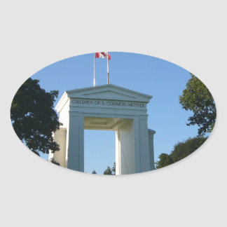 Peace Arch - Washington-BC Border Oval Sticker
