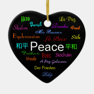 Peace Around the World In Black III Ceramic Heart Decoration