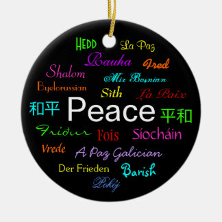 Peace Around the World In Black Round Ceramic Decoration