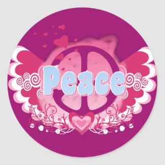 Peace Art Graphic Round Stickers