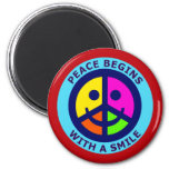 Peace Begins With A Smile Refrigerator Magnets