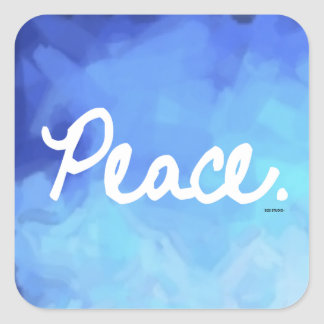 Peace Blue Water Color Sticker