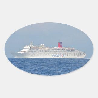 Peace Boat Oval Sticker