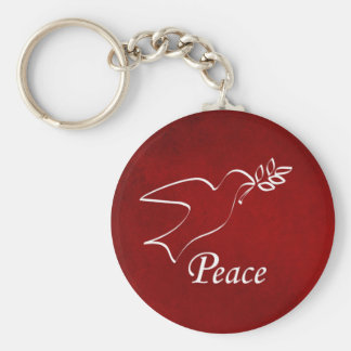 Peace Dove Basic Round Button Key Ring