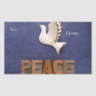 Peace dove gift tag rectangle stickers