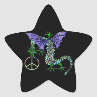 Peace Dragon Star Sticker