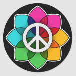 Peace Flower Round Stickers