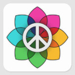 Peace Flower Square Stickers