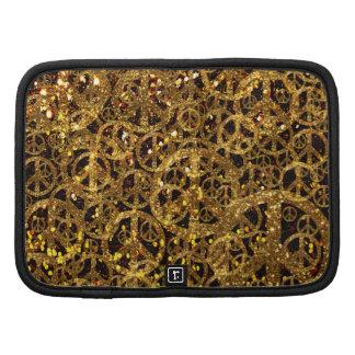 Peace Folio Mini Case with Gold Glitter Planners