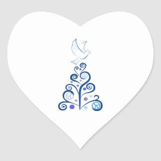 PEACE FOR CHRISTMAS HEART STICKERS