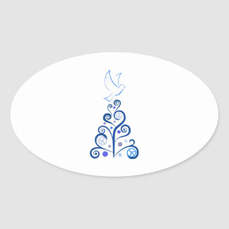 PEACE FOR CHRISTMAS OVAL STICKER