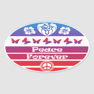 Peace Forever with Butterflies by gemsbok1 Oval Sticker