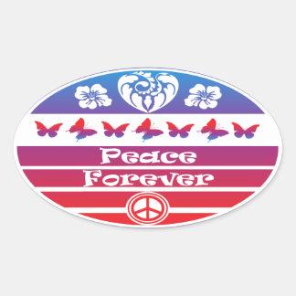 Peace Forever with Butterflies by gemsbok1 Oval Sticker