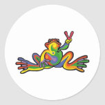 Peace Frog Round Sticker