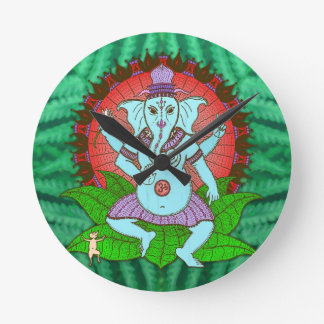 Peace Ganesh Dancing Round Clock