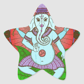 Peace Ganesh Dancing Star Sticker