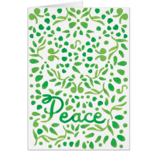Peace Green Hand Painted Watercolor Greeting Card
