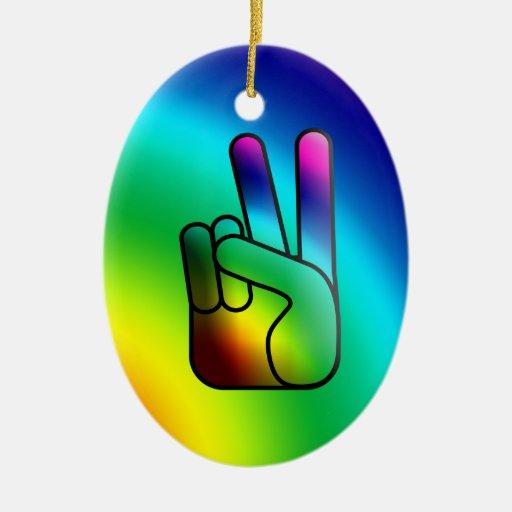 Peace Hand Sign Rainbow Ornament